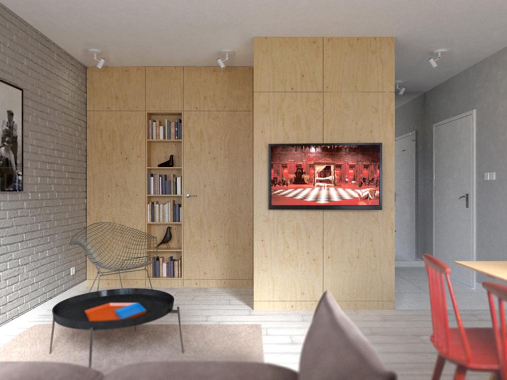 zdjęcie przedstawia duży pokój w mieszkaniu na sprzedaż, w dzielnicy Fabryczna, we Wrocławiu