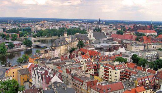 widok z lotu ptaka na okolicę, w której znajduje się mieszkanie na sprzedaż we Wrocławiu