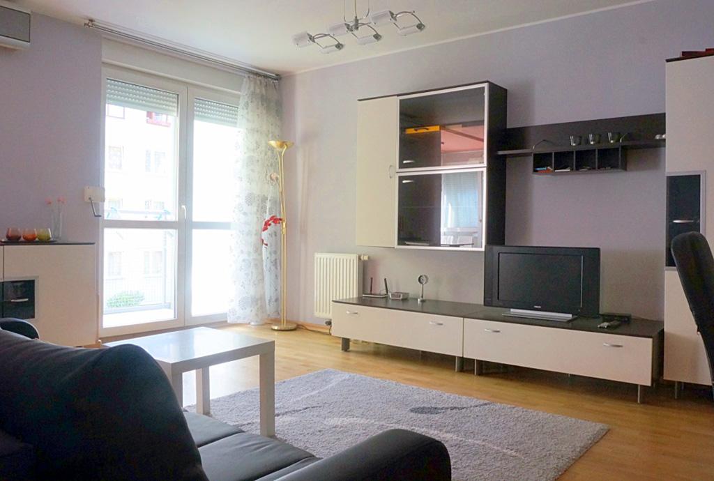 na zdjęciu salon w mieszkaniu do wynajęcia we Wrocławiu - Krzyki