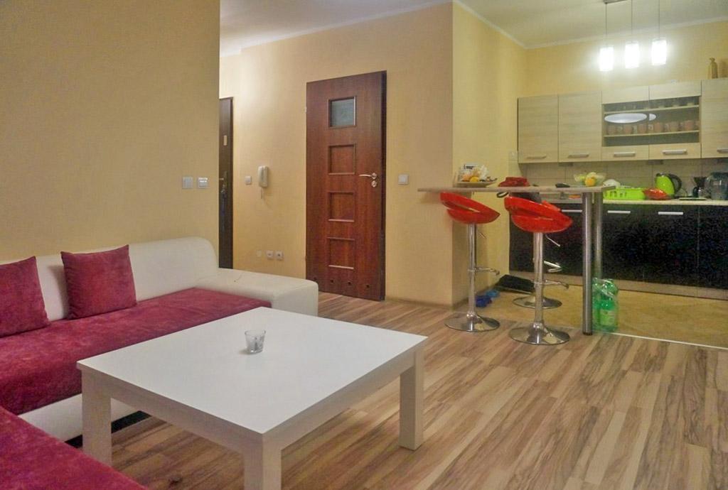 zdjęcie przedstawia salon oraz fragment aneksu kuchennego w mieszkaniu na sprzedaż we Wrocławiu