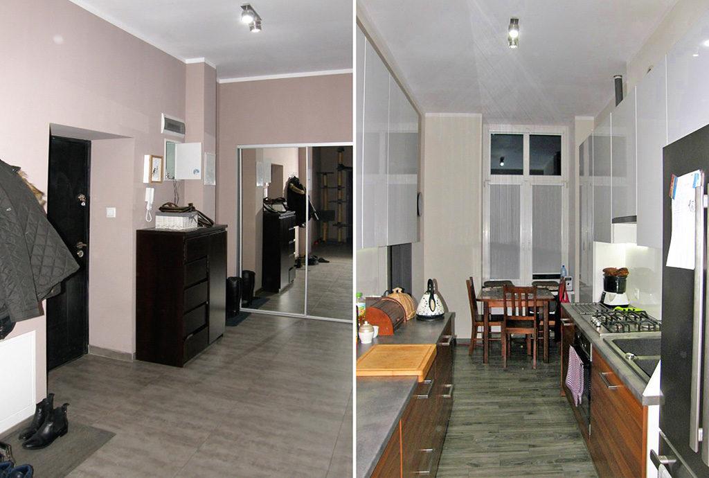 widok z dwóch stron na przedpokój w mieszkaniu na sprzedaż we Wrocławiu