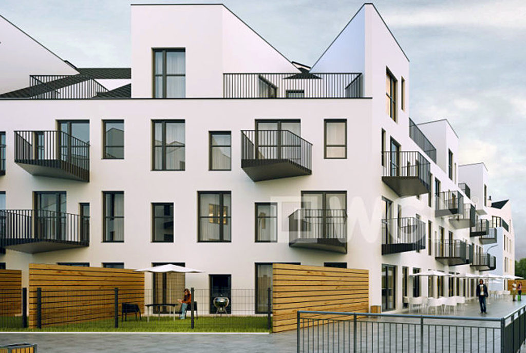 widok na apartamentowiec we Wrocławiu, w którym znajduje się oferowane na sprzedaż mieszkanie