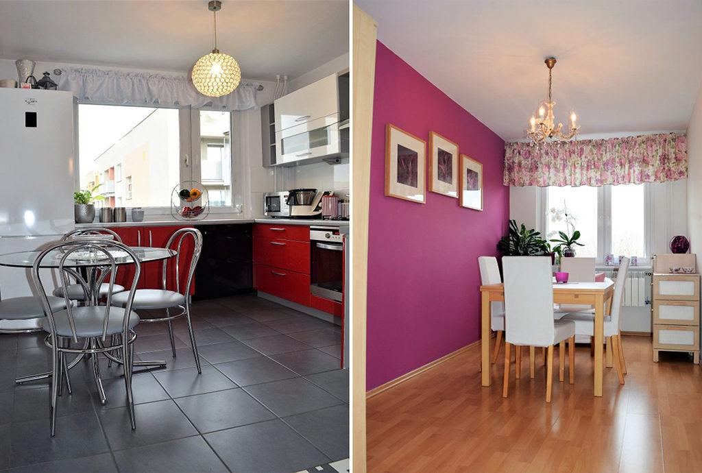 po lewej kuchnia, po prawej jadalnia w mieszkaniu do sprzedaży we Wrocławiu