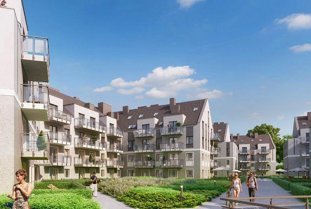 widok na całe osiedle we Wrocławiu na którym znajduje się oferowane na sprzedaż mieszkanie