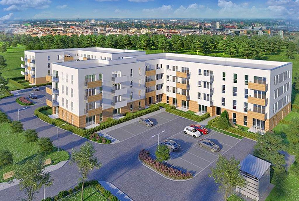 widok z lotu ptaka na całe osiedle we Wrocławiu, gdzie mieści się sprzedawane mieszkanie