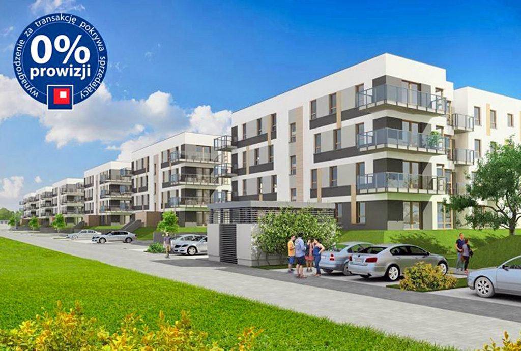 widok na osiedle, we Wrocławiu, na Krzykach, gdzie znajduje się oferowane na sprzedaż mieszkanie