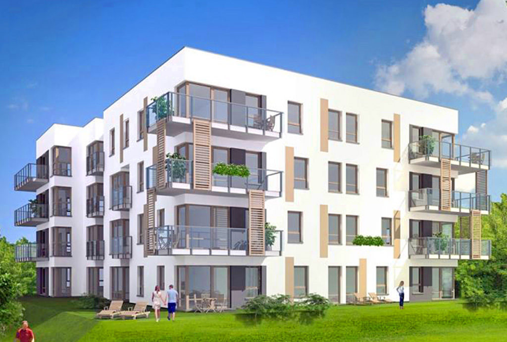 liczne zielone tereny wokół budynku we Wrocławiu na Krzykach, w którym znajduje się oferowane do sprzedaży mieszkanie