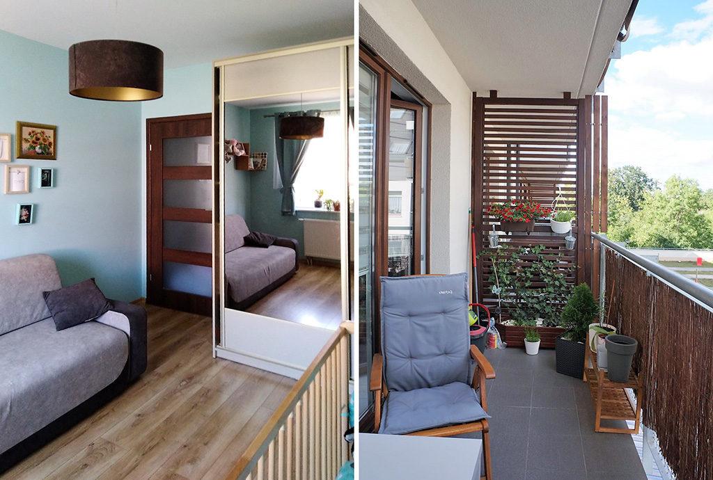widok na sypialnię oraz balkon w mieszkaniu we Wrocławiu na sprzedaż