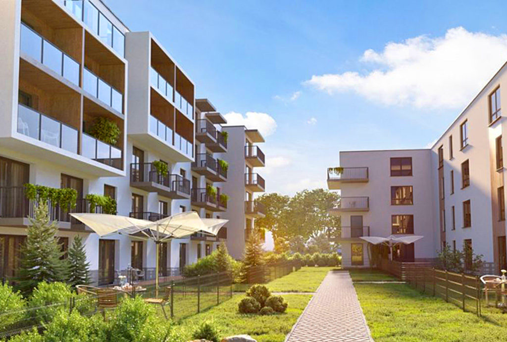komfortowe osiedle we Wrocławiu, na którym znajduje się oferowane mieszkanie na sprzedaż
