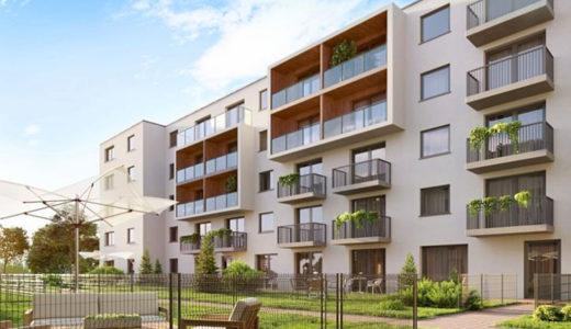 widok na blok we Wrocławiu, w którym mieści się oferowane do sprzedaży mieszkanie