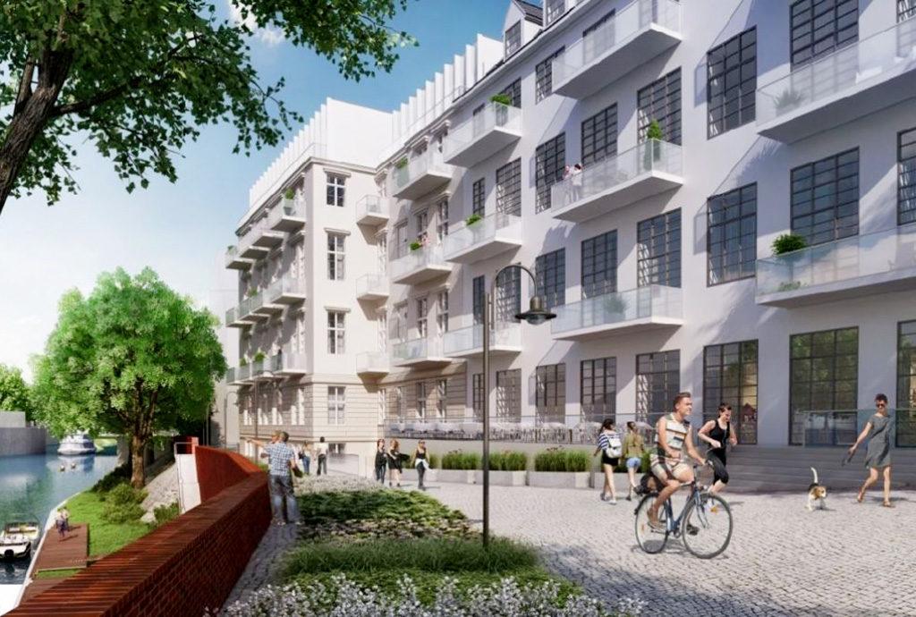 teren osiedla we Wrocławiu, na którym mieści się oferowane do sprzedaży mieszkanie