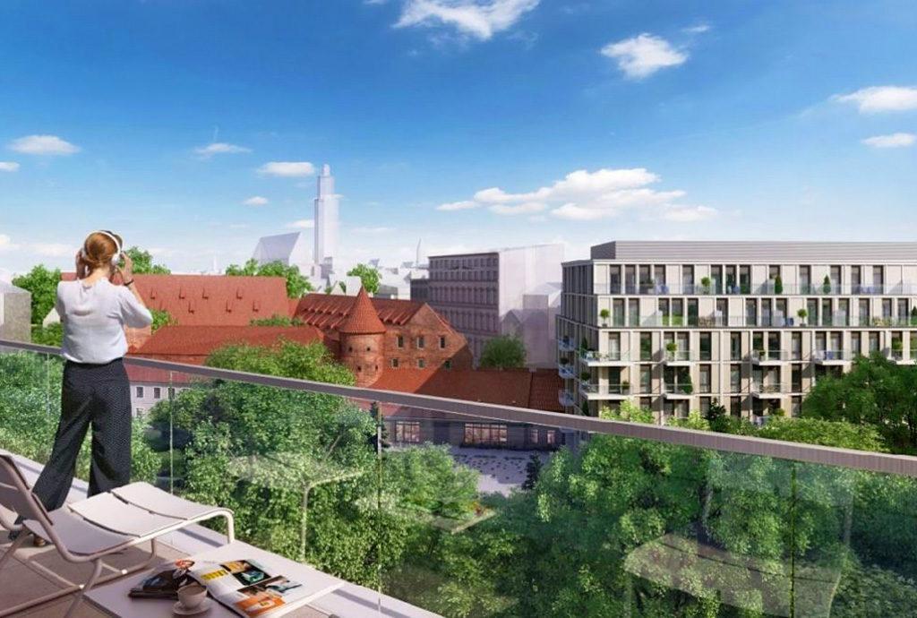 taras i widok na panoramę miasta z mieszkania do sprzedaży we Wrocławiu