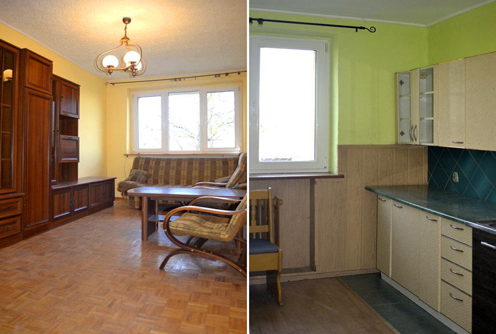 po lewej salon, po prawej kuchnia w mieszkaniu na sprzedaż we Wrocławiu (okolice)