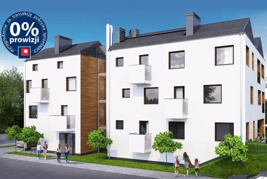 nowoczesny budynek we Wrocławiu (okolice), w którym znajduje się oferowane na sprzedaż mieszkanie