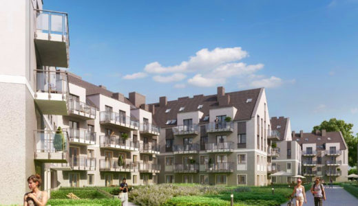 widok na osiedle we Wrocławiu, na którym znajduje się oferowane na sprzedaż mieszkanie