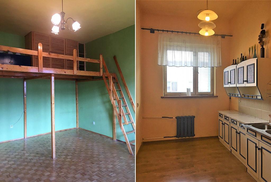 po lewej antresola, po prawej kuchnia w mieszkaniu we Wrocławiu (okolice) na sprzedaż