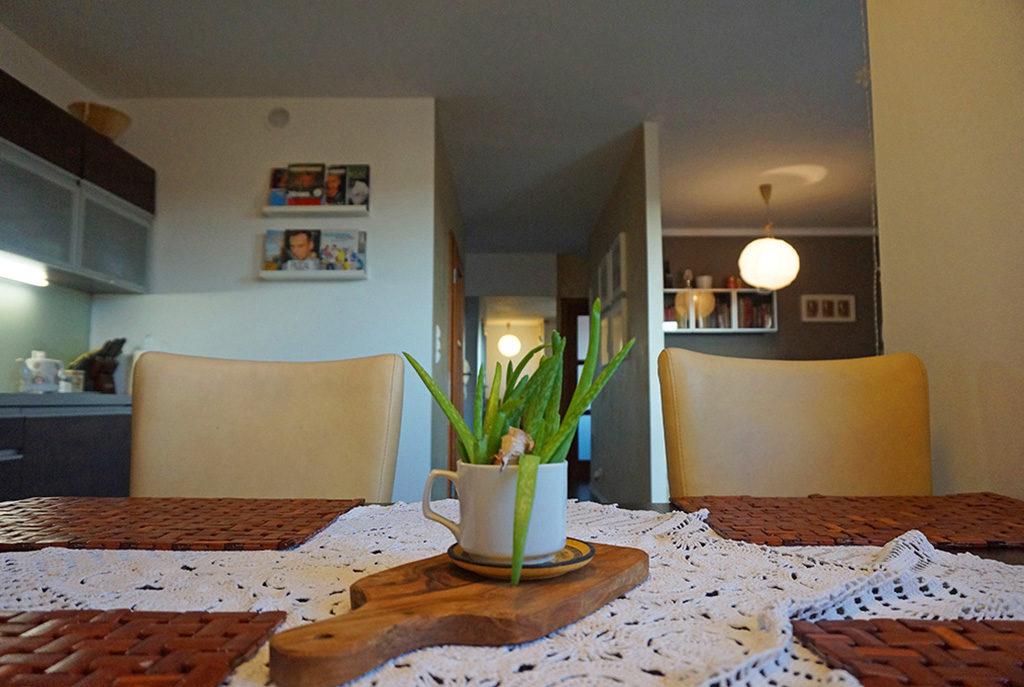 zdjęcie prezentuje widok z jadalni na przestronne wnętrze mieszkania Wrocław Fabryczna do wynajmu