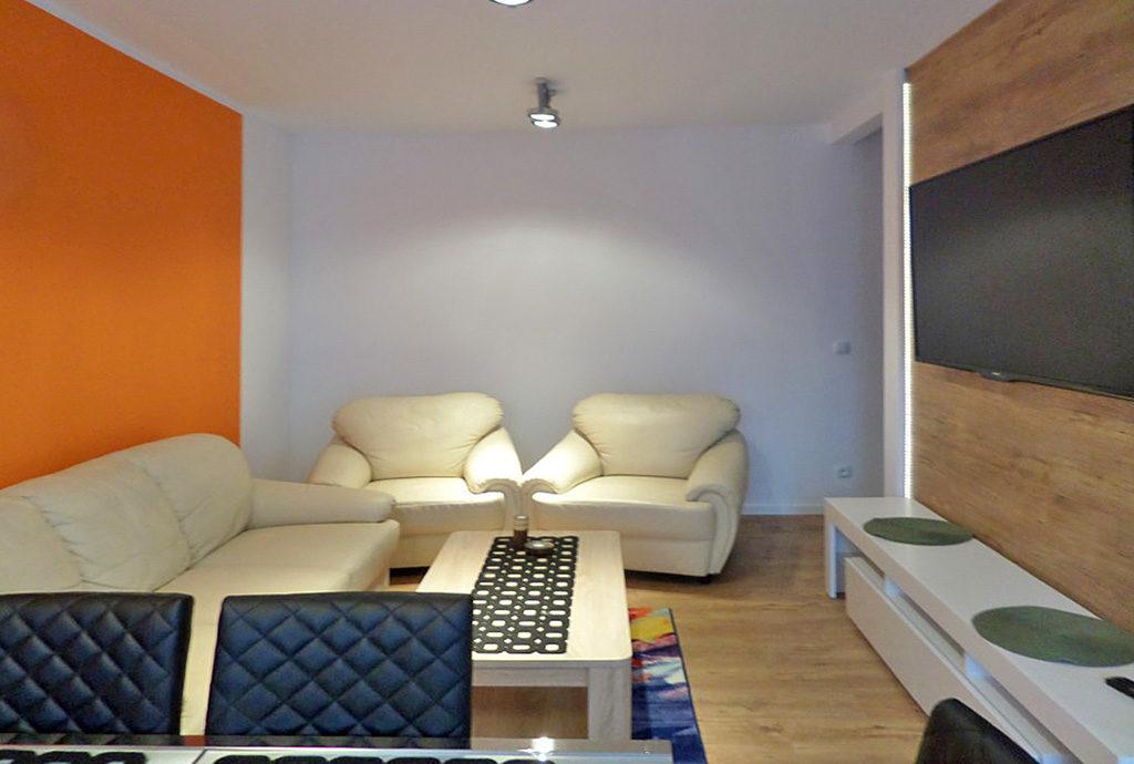 widok na salon w mieszkaniu Wrocław na wynajem