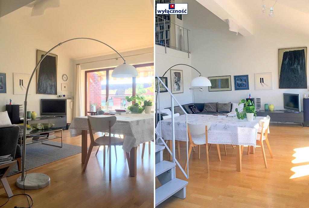 po lewej salon, po prawej jadalnia w mieszkaniu we Wrocławiu na Krzykach na sprzedaż