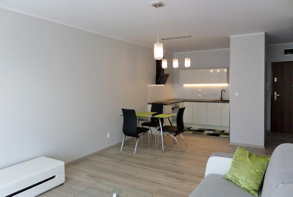 w oddali luksusowy aneks kuchenny w mieszkaniu na wynajem Wrocław Fabryczna