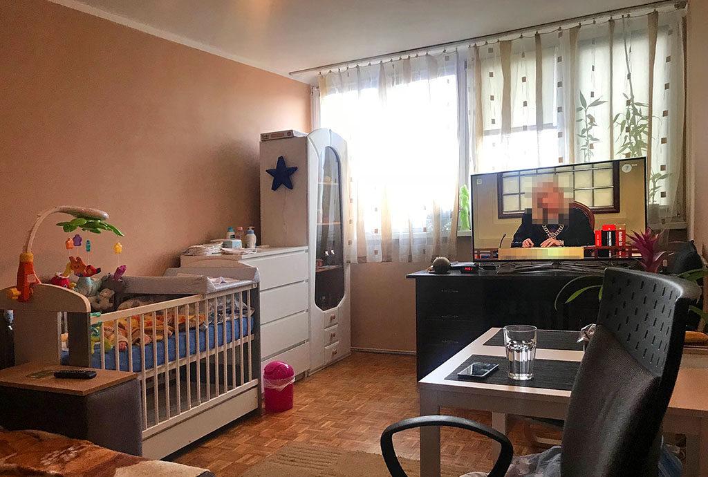nowoczesny salon w mieszkaniu Wrocław Stare Miasto na sprzedaż