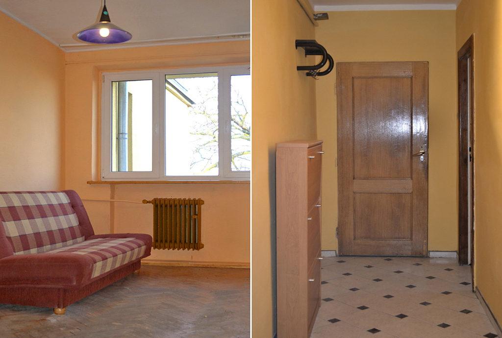 po lewej salon, po prawej przedpokój w mieszaniu do sprzedaży Wrocław (okolice)