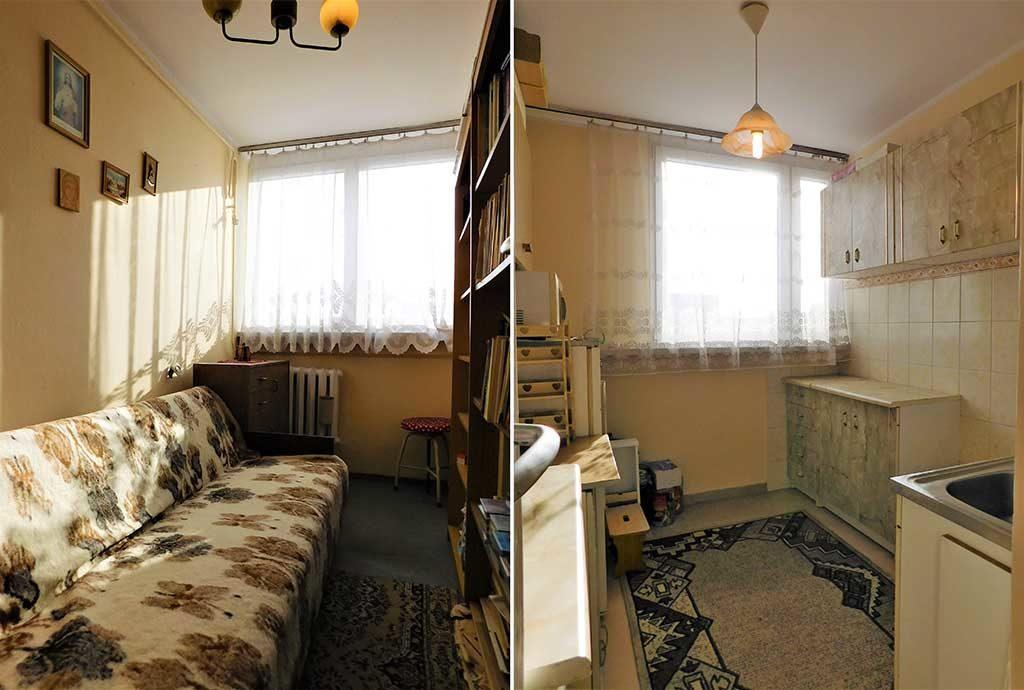 po lewej, pokój, po prawej kuchnia w mieszkaniu do sprzedaży Wrocław (okolice)