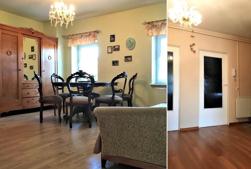 po lewej salon, po prawej przedpokój w mieszkaniu na sprzedaż Wrocław (okolice)