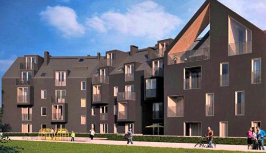 widok na apartamentowiec Wrocław (okolice), w którym znajduje się oferowane na sprzedaż mieszkanie