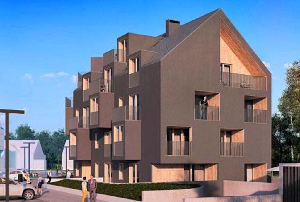 rzut z noku na luksusowy apartamentowiec Wrocław (okolice), w którym mieści się oferowane na sprzedaż mieszkanie