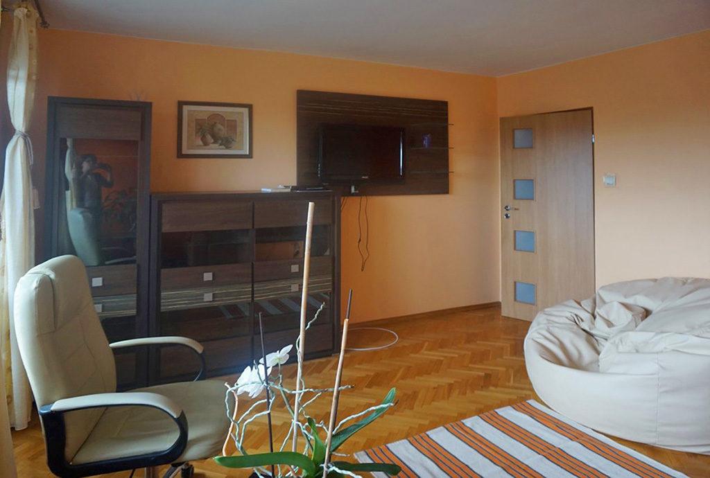 nowocześnie zaaranżowany salon w mieszkaniu na wynajem Wrocław Psie Pole