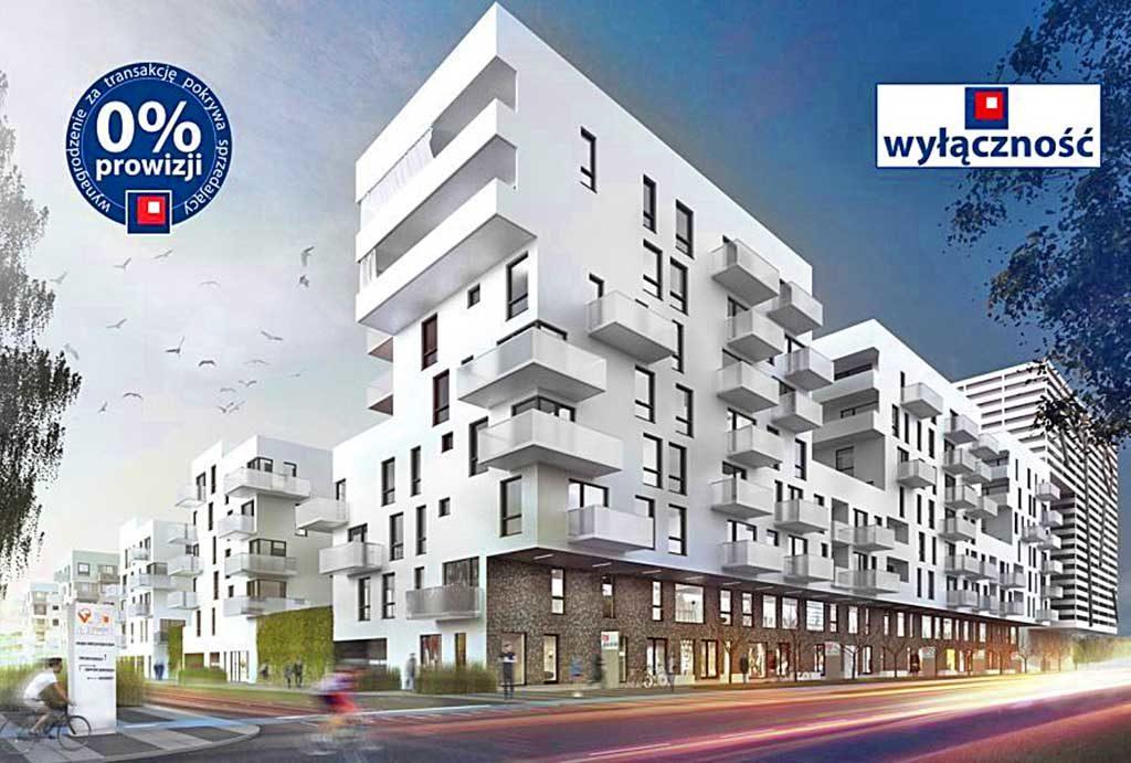 nowoczesny apartamentowiec we Wrocławiu, gdzie znajduje się oferowane na sprzedaż mieszkania