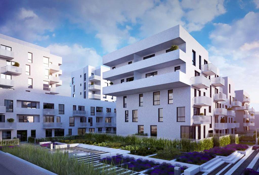 widok od strony ulicy na słynny apartamentowiec z oferowanym na sprzedaż mieszkaniem Wrocław Żerniki