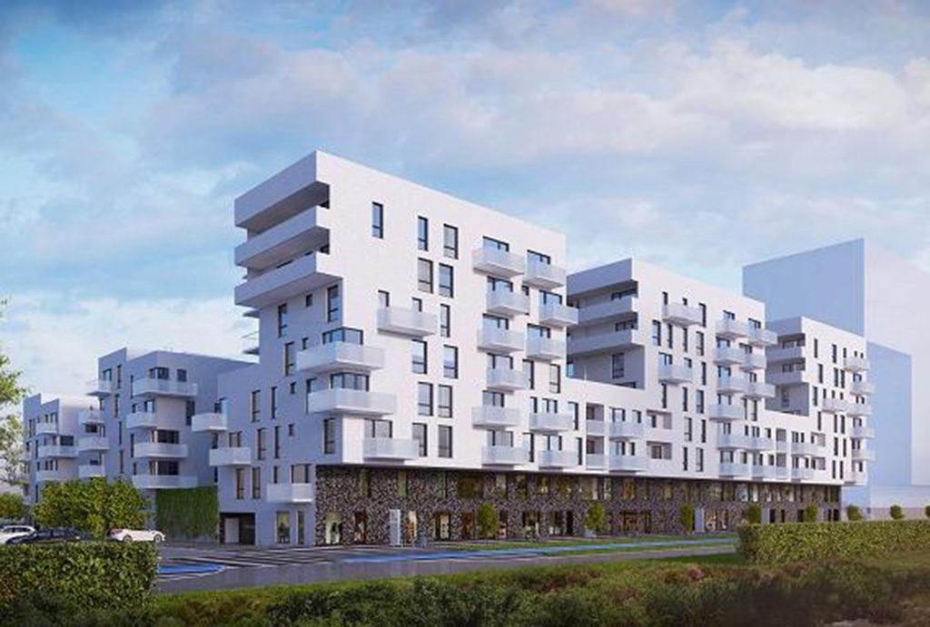 rzut od strony osiedla prezentujący nowoczesny apartamentowiec, gdzie znajduj się oferowane do sprzedaży mieszkanie Wrocław Żerniki