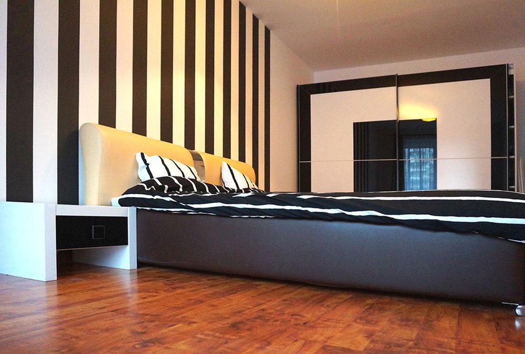 widok na komfortową sypialnię w mieszkaniu do sprzedaży Wrocław Fabryczna