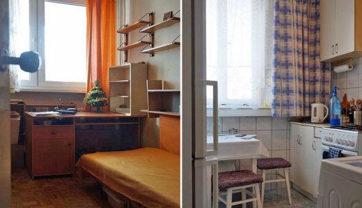 po lewej jeden z pokoi, po prawej kuchnia w mieszkaniu do sprzedaży Wrocław Stare Miasto