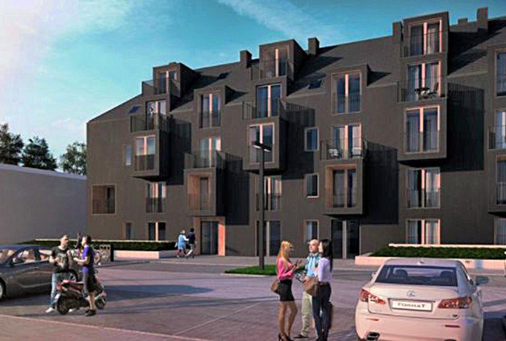 rzut od strony wejścia do apartamentowca Wrocław (okolice), w którym mieści się oferowane mieszkanie na sprzedaż