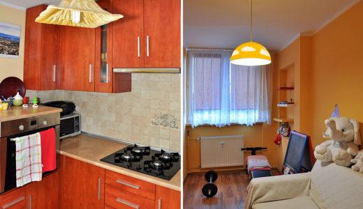 po lewej kuchnia, po prawej salon w mieszkaniu do wynajęcia Wrocław (okolice)
