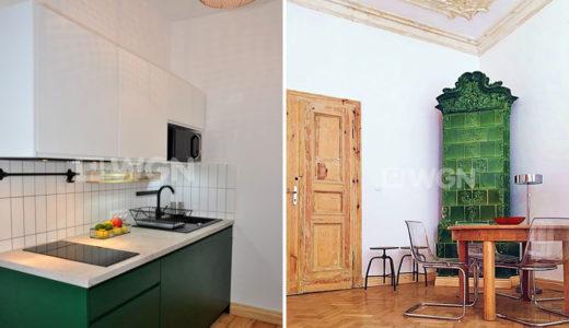 po lewej kuchnia, po prawej salon z kominkiem w mieszkaniu do wynajęcia Wrocław Śródmieście