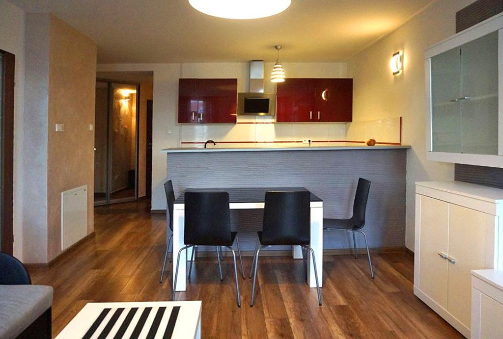 widok od strony salonu na aneks kuchenny w mieszkaniu do wynajmu Wrocław Śródmieście