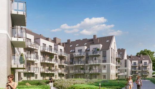 nowoczesne osiedle, na którym znajduje się oferowane na sprzedaż mieszkanie Wrocław Fabryczna