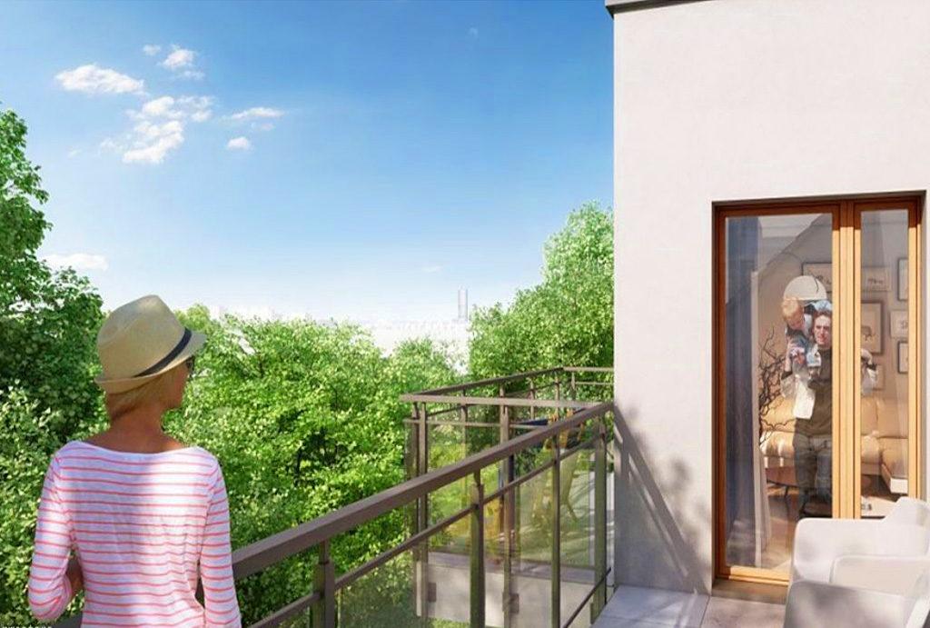 widok na zieleń z balkonu przy mieszkaniu do sprzedaży Wrocław Fabryczna