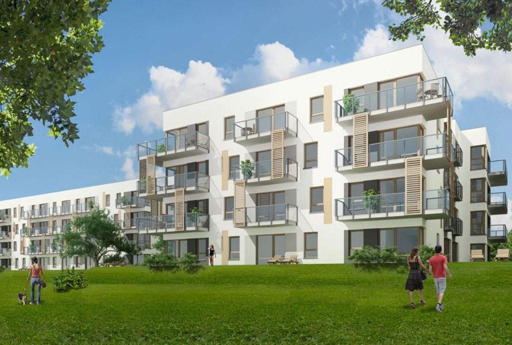 rozległe tereny zielone wokół osiedla, na którym mieści się oferowane do sprzedaży mieszkanie Wrocław Krzyki