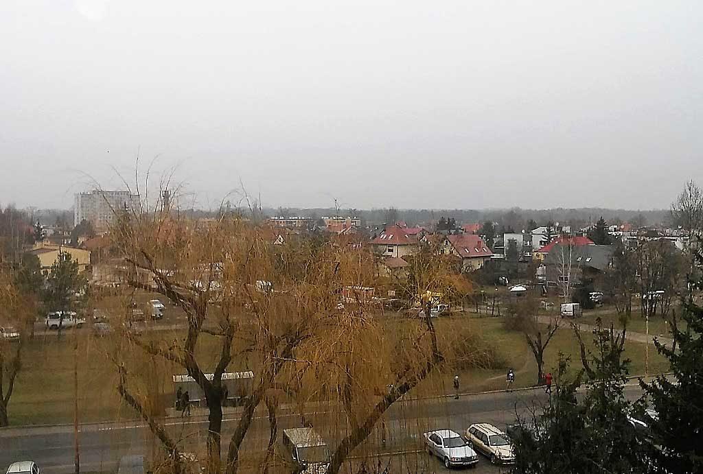 panorama miasta widziana z balkonu i okien mieszkania do sprzedaży Wrocław Psie Pole