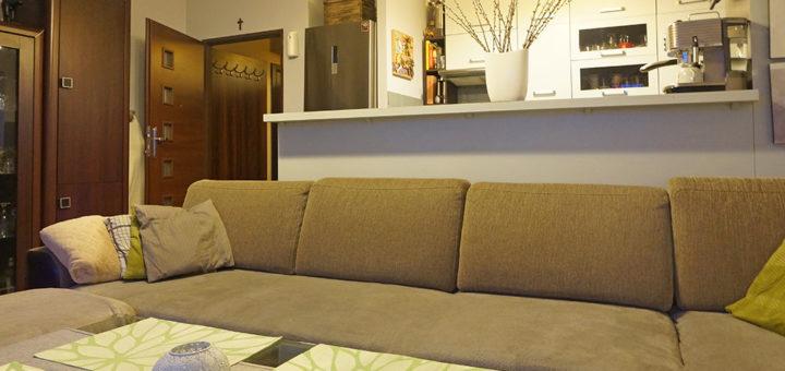nowoczesny salon w mieszkaniu na sprzedaż Wrocław Fabryczna