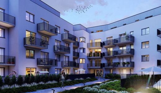 widok od strony osiedla na apartamentowiec, w którym znajduje się oferowane na sprzedaż mieszkanie Wrocław Krzyki