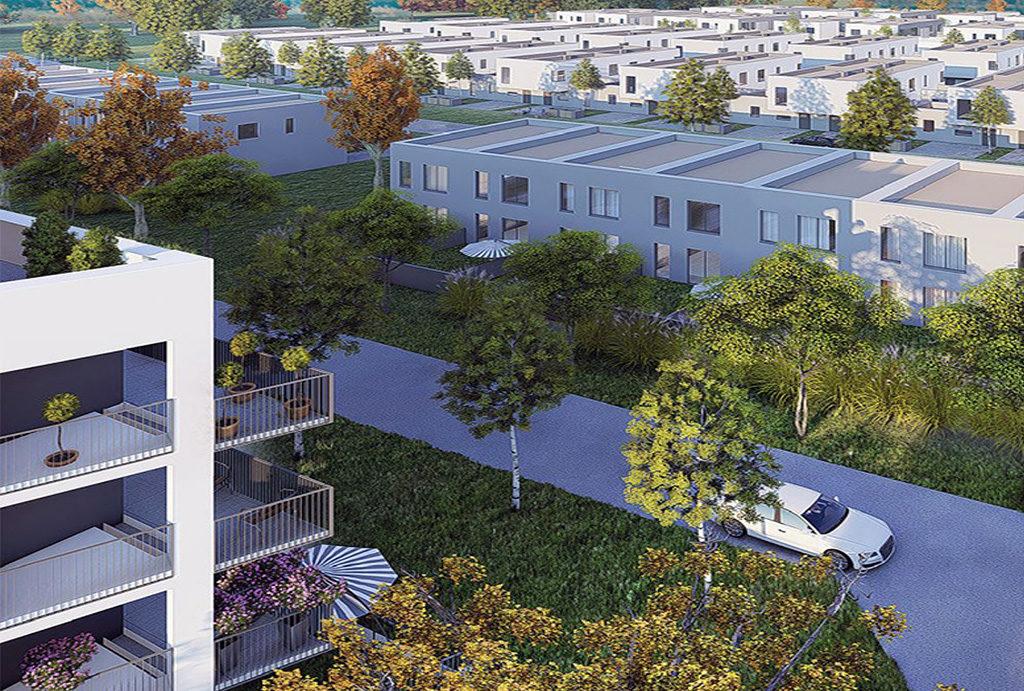 rzut z lotu ptaka na całe osiedle, na którym mieści się budynek, w którym znajduje się oferowane na sprzedaż mieszkanie Wrocław Krzyki