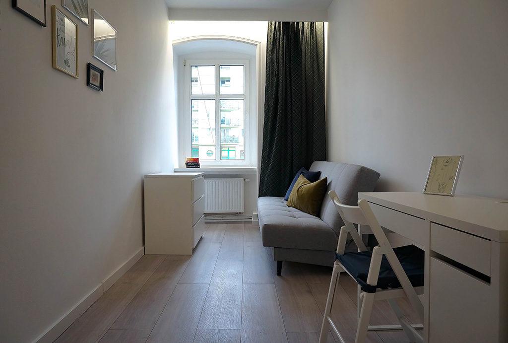 widok na sypialnię w mieszkaniu na sprzedaż Wrocław Krzyki