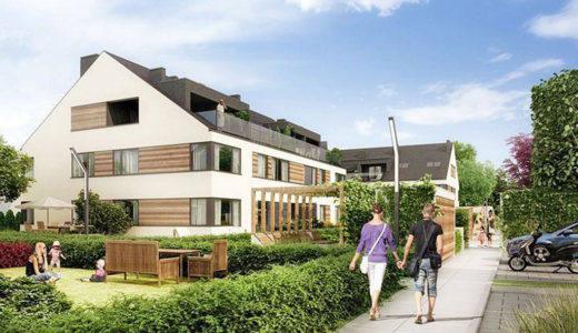 widok od strony osiedla na apartamentowiec, w którym mieści się oferowane na sprzedaż mieszkanie Wrocław Siechnice
