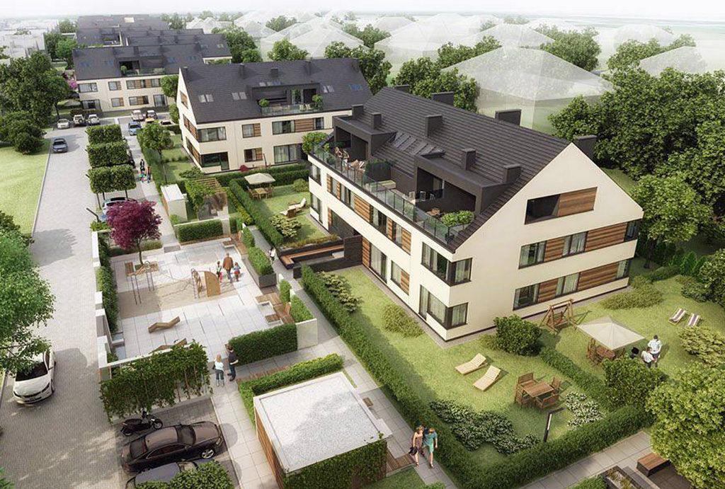 zdjęcie wykonane z lotu ptaka prezentujące osiedle, na którym znajduje się oferowane do sprzedaży mieszkanie Wrocław Siechnice